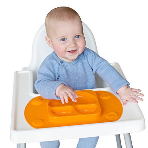 Mini EasyMat® for Highchair and Travel Feeding. Portable Baby Suction Plate & Placemat In One With Lid, Folding Sides & Carry Case. Small Sectional Baby Plate Perfect For Baby Led Weaning Age 6 Month+ by Tots R Us (Orange)
