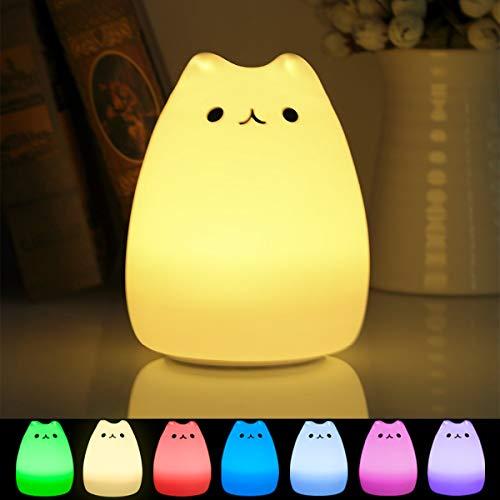 B-right Led Nachtlicht baby Silikon Nachtlampe kinder 7 Farbe Nacht Beleuchtung, Katze Licht für Kinder Nachttischlampe mit USB, DIY Dekolampe Kinderlicht für Schlafenzimmer, Kinderzimmer
