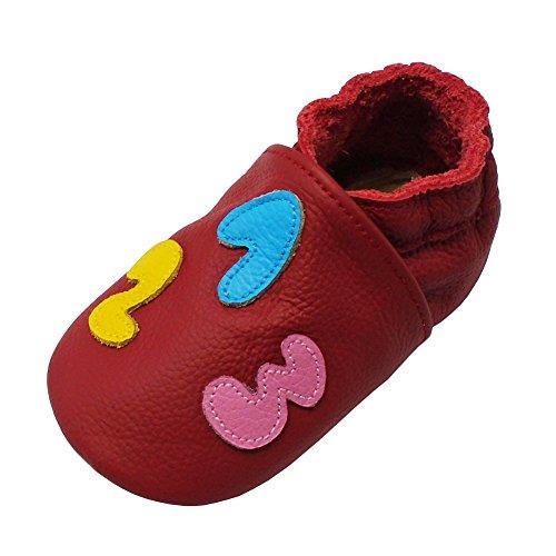 Yalion Baby Weiche Leder Lauflernschuhe Krabbelschuhe Hausschuhe Lederpuschen mit 123 und ABC (22/23, Rot)