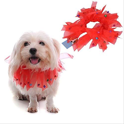 JBPX Hund Katze kostüm farbiges Band Jingle Bell neckhole weihnachtsmütze Haustiere Halloween Dressing up niedlich dreieck schal (Band Motto Kostüm)