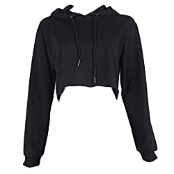 Rosennie Women Short Hoodie Sweatshirt Jumper Sweater Crop top Coat Sports Pullover Tops