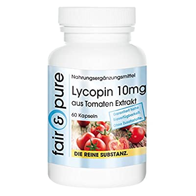 Lycopene 10mg from Tomato Extract - In Pure Form - No Additives or Excipients - 60 Vegetarian Capsules