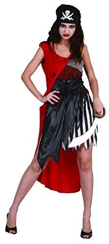 Blumen Paolo-BUCANIERA Dark Kostüm Damen Erwachsene Womens, schwarz, Größe 40-42, 62078 (Sparrow Jack Womens Kostüm)