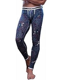 Pantalones Largos Termales Apretada Ropa Interior Delgada Caliente Legging Johns Nuevos Hombres Impresos
