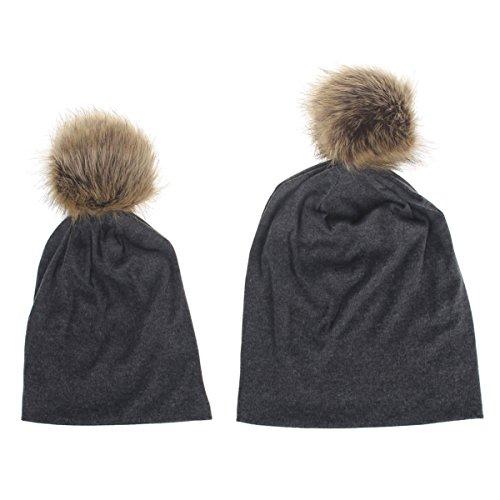 Fletion Mutter & Kind Baumwolle Warm Slouch Beanie Mütze Hut Eltern Kinder Baumwollmütze Pom Pom Hut (Baumwolle Mutter)