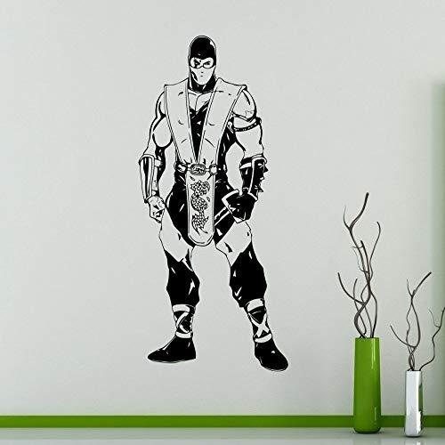jiushizq Kampfspiele Mortal Kombat Wandtattoo Art Design Abnehmbare Vinyl Wasserdicht Abnehmbare Wandaufkleber Dekoration Jungen Zimmer Rot 60x135 cm (Red Ninja Mortal Kombat)