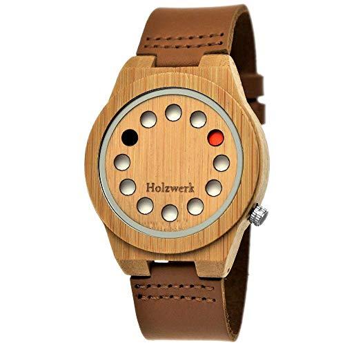 Handgefertigte Holzwerk Germany® Designer Unisex Damen-Uhr Herren-Uhr Öko Natur Holz-Uhr Leder Armband-Uhr Analog Klassisch Quarz-Uhr Future Edition Braun Ahorn (Braun) -
