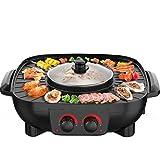 Elettrodomestico integrato Hot Pot Elettrico Teglia da forno Barbecue Macchina di torrefazione coreana Multi-funzione Pentola Quadrato doppio interruttore 1.8L Grande capacità