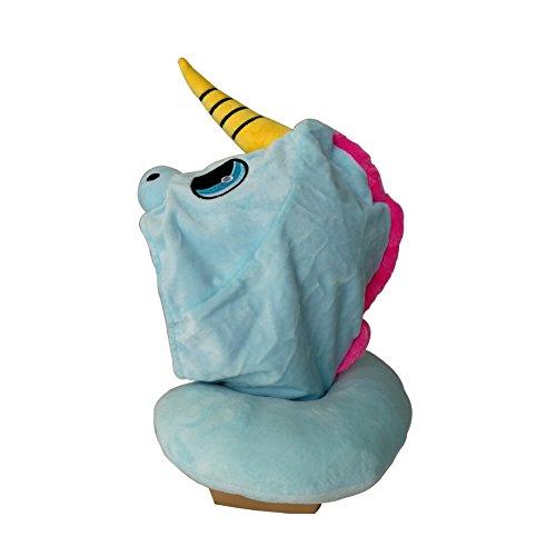 Boby\'s Wonderland Einhorn Kapuzen-Nackenkissen Stützkissen Reisekissen mit Kapuze Lustige Geschenke für Kinder und Frauen