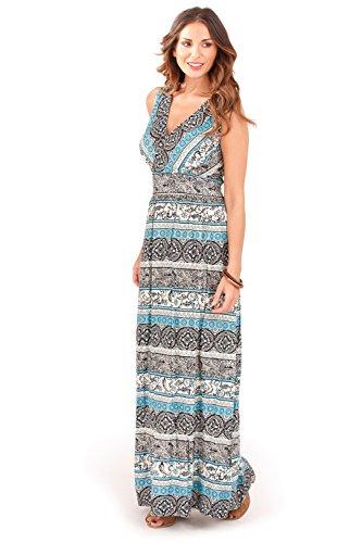 Pistachio - Damen Maxi Kleid Front Palmen Blatt Kreuz Blaugrüne Tribal