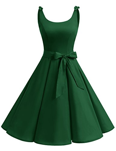 bbonlinedress 1950er Vintage Polka Dots Pinup Retro Rockabilly Kleid Cocktailkleider Green 2XL