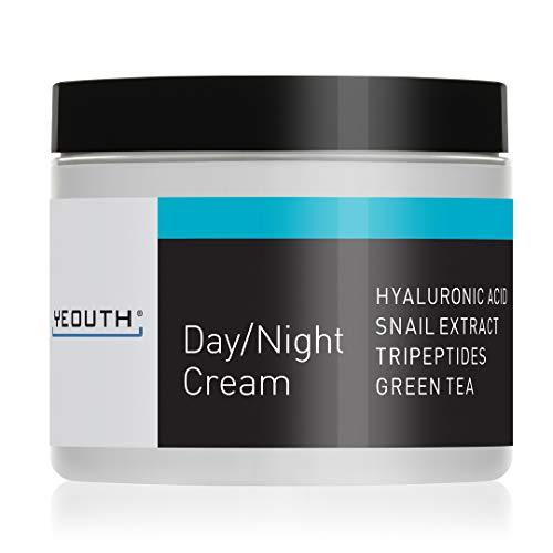 YEOUTH Day Night Moisturizer para cara con extracto de caracol, ácido hialurónico, té verde y péptidos, crema antiarrugas de día o crema hidratante de noche para pieles secas, 4 oz