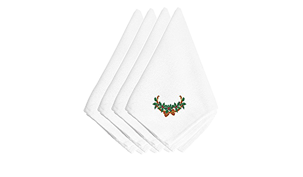 Pack of 4 Quayside Home Christmas Napkins 100/% Cotton White with embroidered sprig of mistletoe
