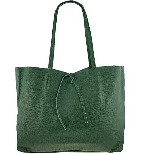 Freyday ORIGINAL Echtleder Shopper mit Innentasche in vielen Farben Schultertasche Henkeltasche (Dunkelgrün) -
