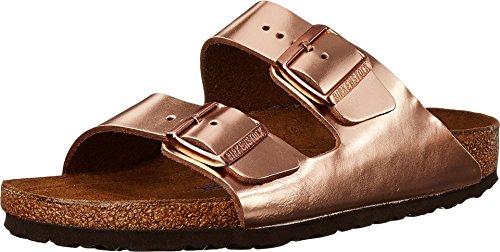 Leder Wrap-around-sandalen (Birkenstock Womens Arizona Metallic Copper Leather Sandals 39 EU)