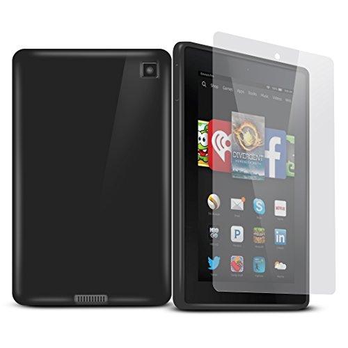 Cotechs® - Schwarz TPU Silikon Schutzhülle Hülle Fire HD 6 (6 Zoll Tablet) - Mitgelieferte Displayschutzfolie