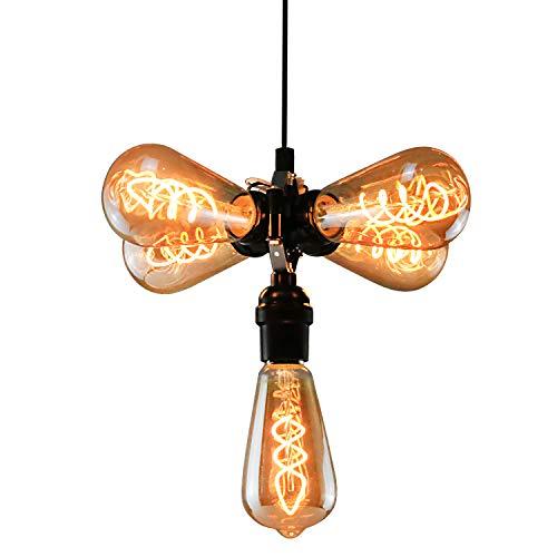 GBLY Industrielle Pendelleuchte E27 Lampenfassung Retro 5-Flammig Hängeleuchte Schwarze Halter Lampe Zubehör Höheverstellbar mit Decken Platte für Esszimmer Wohnzimmer Cafe Restaurant (ohne Birnen)