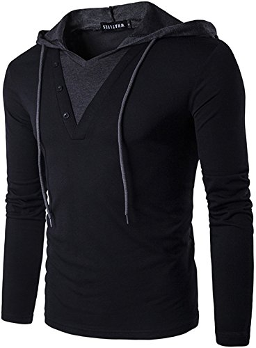 WHATLEES Herren Urban Basic reguläre Passform lang arm Langes T-Shirt mit Kontrast Kapuzer aus Weiches Jersey B414-Black-M B414-Black-M-new