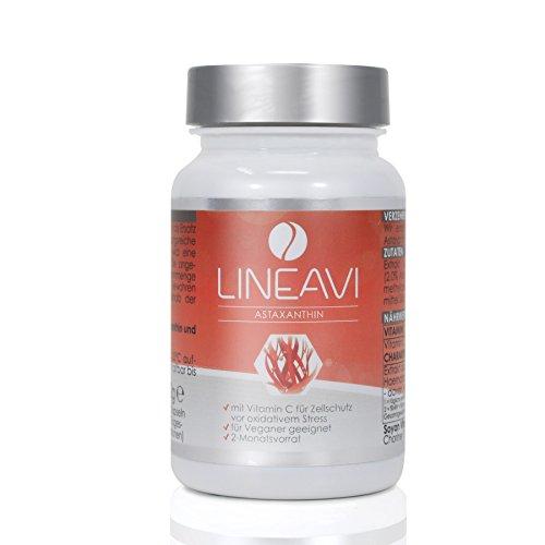 LINEAVI Astaxanthin • 4mg Astaxanthin + 40mg Vitamin C pro Kapsel • starkes Antioxidans • in Deutschland hergestellt • 60 vegane Kapseln (2-Monatsvorrat)