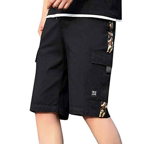 Training Baggy Pants (Cargo Shorts Herren Chino Kurze Hose Sommer Bermuda Sport Jogging Training Stretch Shorts Qmber Fitness Vintage Regular Fit Sweatpants Lässige Outdoor Arbeitshose Beach Baggy Shorts Pant(Black,8XL))