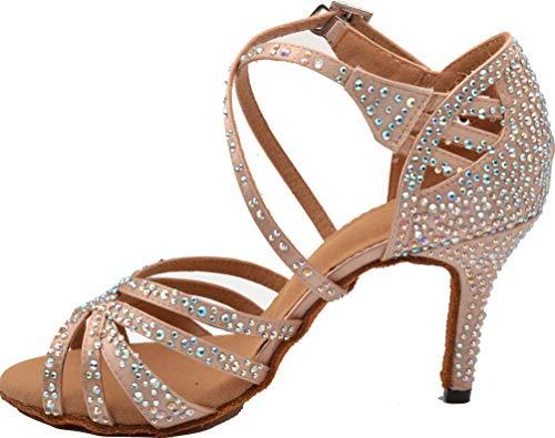 Scarpe da Ballo, da Donna, Aperte sul Davanti, con Spalline e Tacco a Gattino, Rosa (Skin), 34 EU