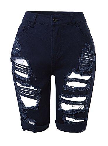Denim-stretch-shorts (Tribear Damen Denim Stretch Jeans Hohe Taille Skinny Distressed Kurze Jeans (EU 42(10), Dunkelblau))