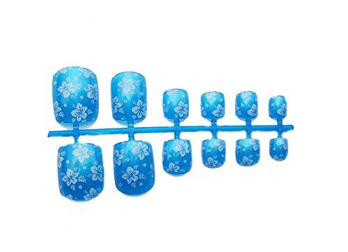 2 boîtes de bricolage Conçu Faux ongles d'orteils / clous,Fleur bleue