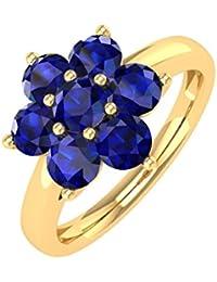 18K Gold Star Form Blau Saphir Verlobungsring Band Ring (1,00Karat)
