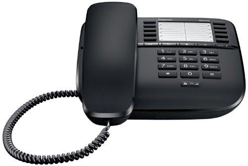 Gigaset DA510 Telefon - Schnurgebundes Telefon/Schnurtelefon mit Kurzwahl - Einfaches Telefon Freisprechen Stummschaltung - Mute/Analog Telefon - schwarz
