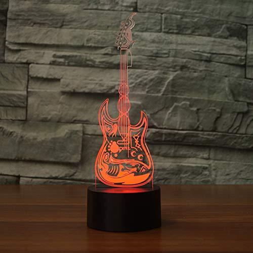 Mxlyr 3D Nachtlicht Wohnkultur Kind Schlafzimmer Nacht Musik Gitarre Lampe Led Touch Hexe Bunte Farbverlauf Stimmung Beleuchtung Kunst Tischlampe