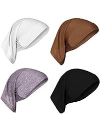 HIKONG 4pcs Gorro Sombrero Pañuelo Turbante Mujer Cabeza para Càncer Quimioterapia Chemo Oncológico Noche Pèrdida de Pelo Cabello
