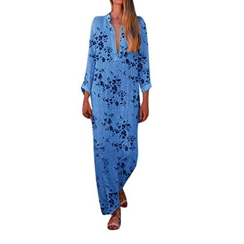 MasteriOne Femmes Floral imprimé Coton Lin Long Manches Solides V décolleté Bohème Longue Robe Robe imprimée Casual Robe pour Les Femmes Plus la Taille