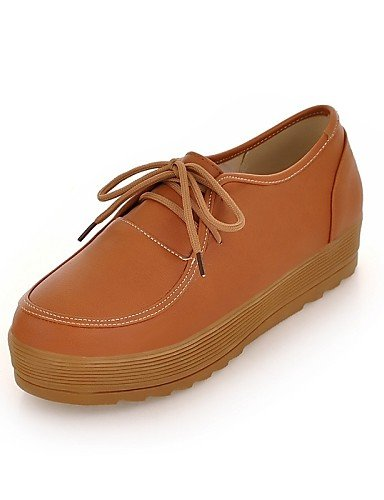 ZQ Scarpe Donna - Stringate - Tempo libero / Ufficio e lavoro / Formale / Casual - Comoda / Punta arrotondata - Plateau - Finta pelle -Nero , brown-us8 / eu39 / uk6 / cn39 , brown-us8 / eu39 / uk6 / c black-us8 / eu39 / uk6 / cn39