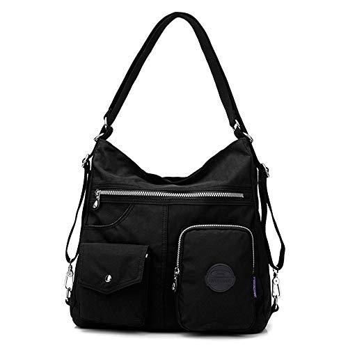 Nameblue Damen Tasche Rucksack Handtasche Frauen Rucksackhandtasche Umhängentasche Henktasche Schultertasche für Mädchen Ausflug Einkauf Reise -Wasserdicht und Multitasche 9823-black