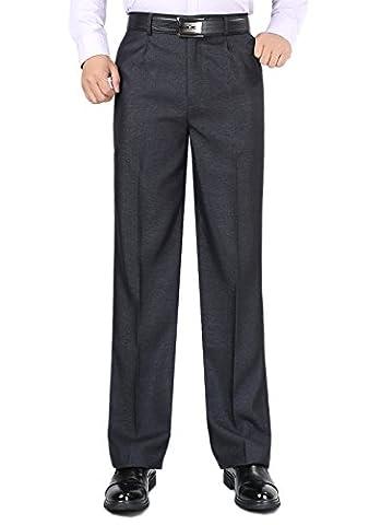 Spring/Summer Mens Straight Suit Trousers Flat Pleat Regular Fit Pants Size 30-44 (W42/L31