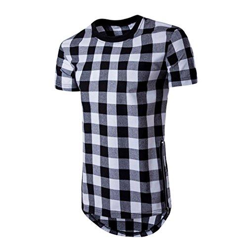 IMJONO.Herren Sommer Kurzarm Plaid Zipper Shirt Top Pullover Bluse(Schwarz,Large)