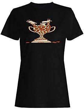 Novedad divertida del trofeo de la jirafa de la historieta nueva camiseta de las mujeres hh4f