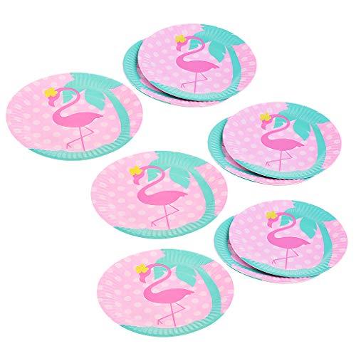P Prettyia 24pcs Hawaii Stil Einwegteller Pappteller mit Flamingo Design für Kuchen Obst BBQ Nachtisch usw.