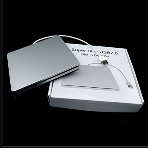 CHOULI Laptop Typ Saug Slim USB 2.0 Slot In Externe Laufwerke Box Gehäuse Gehäuse Silber (Externe Powered Dvd-laufwerk)