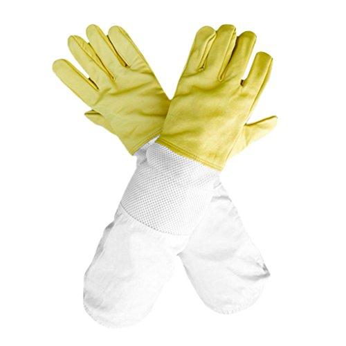 FLAMEER 1 Paar Imker Handschuhe Schutzhandschuhe für Bienenzucht aus Ziegenfell und Ventilations Baumwolle Bienenhaltung mit Belüftete langen Ärmeln Handschuhe aus Ziegenleder 50cm - Gelb (Lange Ventilation)