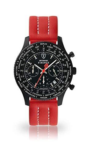 DETOMASO Firenze Herren-Armbanduhr Chronograph Analog Quarz schwarzes Edelstahlgehäuse schwarzes Zifferblatt - Jetzt mit 5 Jahre Herstellergarantie (Leder - Rot (Naht: Weiß))