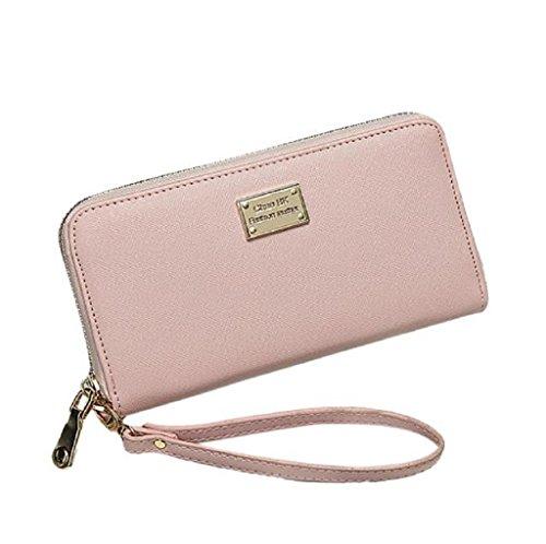 Borsa Familizo Elegant Signora Women borsa della frizione Portafoglio Holder Piccolo sacchetto della carta Rosa
