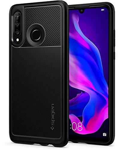 Armadura Resistente Spigen, Capa Huawei P30 Lite, Capa Fina com Proteção de Câmera e Tecnologia de Almofada de Ar para Huawei P30 Lite - Preto Mate