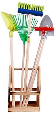 Mediablue 5 teiliges Gartenwerkzeug Set Spaten Laubharke Schaufel Besen Garten Werkzeug Kindergartenset