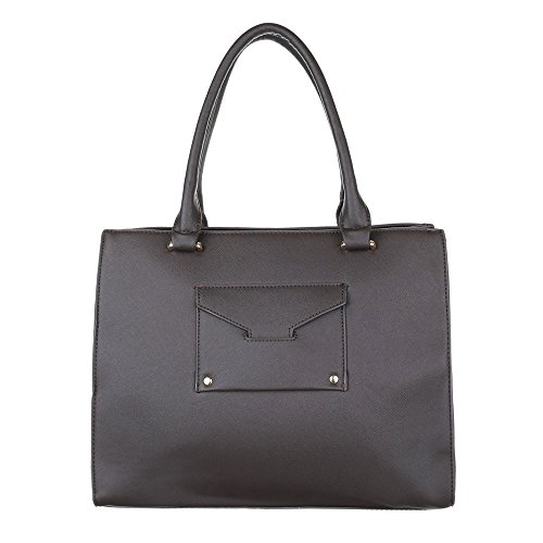 iTal-dEsiGn Damentasche Mittelgroße Schultertasche Handtasche Kunstleder TA-A123 Dunkelbraun