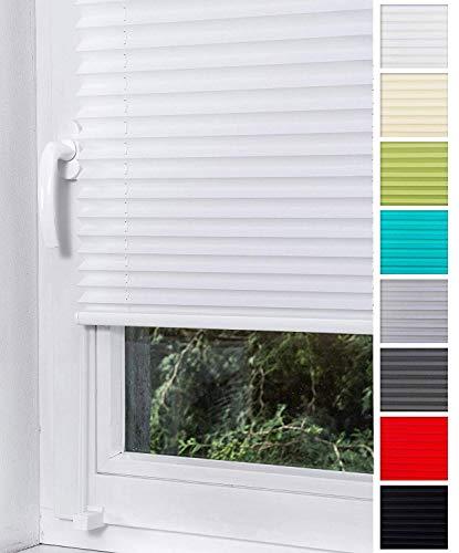 Home-Vision Plissee Faltrollo ohne Bohren mit Klemmträger / -fix (Weiß, B80cm x H150cm) Thermoplissee Sonnenschutz Jalousie für Fenster & Tür