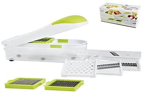 H H & Multi-Food Slicer Set MWS Taille Émincer Moudre Grattuggia Légumes Fruits Fromage Avec 7 Lames Différentes Classeur Utile et Sûr et Amortisseurs en Plastique Blanc/Vert