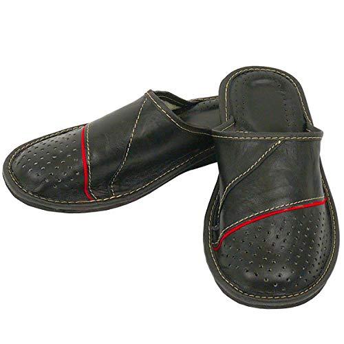 DF-SOFT Herren Herrenpantoffel Pantoffel Hausschuhe Haus Schuhe Leder Pantoffel Lederpantoffel Pantoletten Schlappen Modell 138 (42 EU)