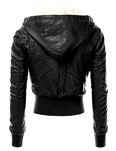 Brinny Damen Kapuzen Lederjacke Motorradjacke Oberbekleidung Kunstlederjacke Leder Jacke Jacket Bikerjacke Blazer Winterjacke Parka Gefüttert-Schwarz S - 2