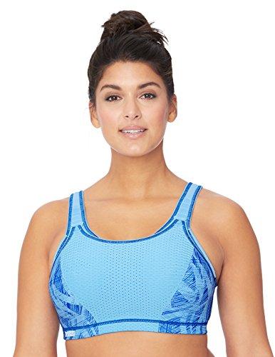 Glamorise Damen Verstellbarer, bügelloser Hochleistungs-Sport-BH  , Blau , 75D -